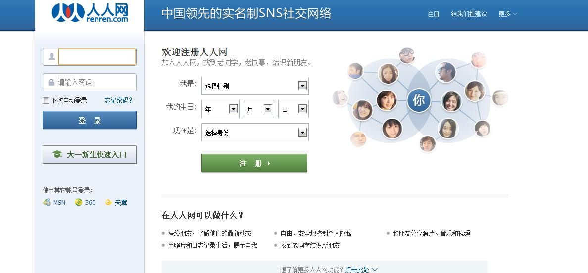 portale społecznościowe -renren